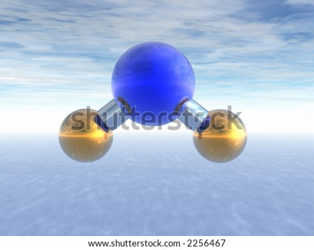 Molecule of water above ocean. Abstract. 3D. - stock photo