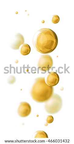 Molecule. Yellow glass balls. 3D illustration.