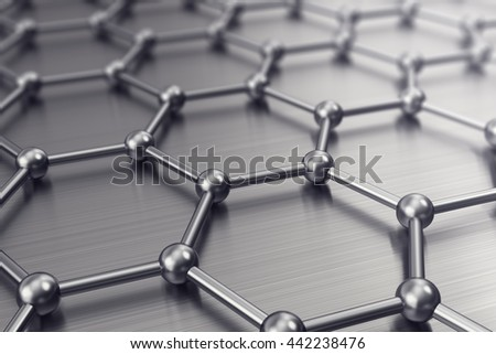Molecules connected, crystallized in the hexagonal system. 3d illustration - stock photo