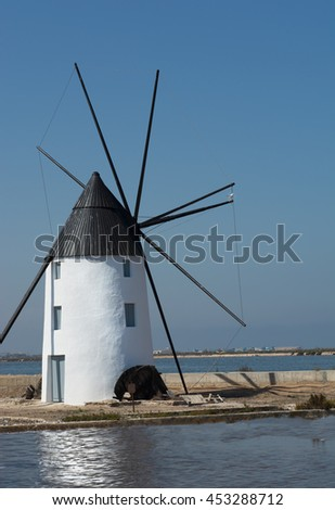 Molino Calcetera - Historic windmill in the salt marshes at San pedro del Pinatar. Situated in the regional park, las salinas, the salt marshes are close to Mar Menor in Murcia Spain. - stock photo