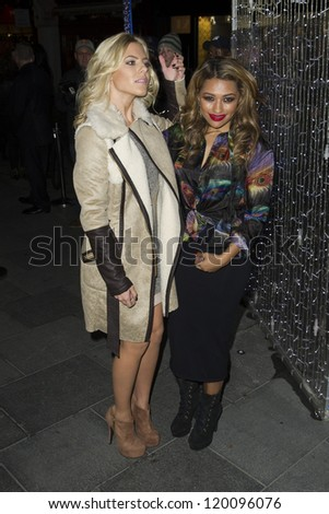 Mollie King and Vanessa White arriving at the Launch of the Supertrash Store on Molten Street, London. 21/11/2012 Picture by: Simon Burchell
