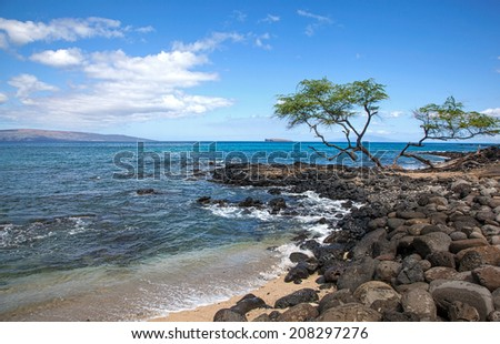 Molokini from the Ahihi-Kinau Preserve area on Maui, Hawaii - stock photo