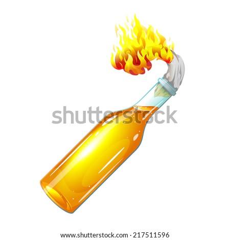 Molotov cocktail with burning rag - stock photo