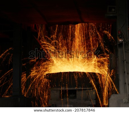 Molten steel to the vessels dumping work scene in the factory