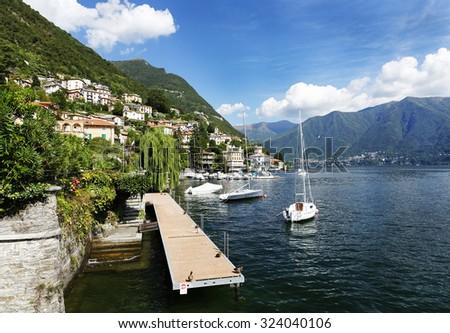 Moltrasio, Lake Como, a lake of glacial origin in Lombardy, Italy. - stock photo