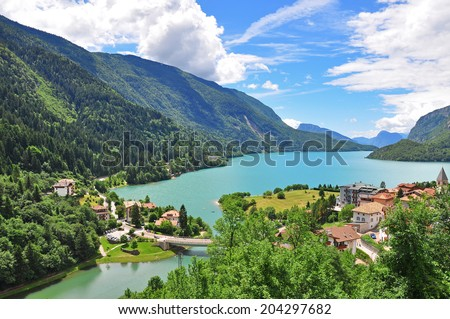 Molveno lake in Dolomites, Italy - stock photo