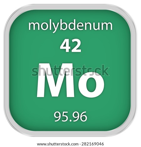 Molybdenum material on the periodic table. Part of a series. - stock photo