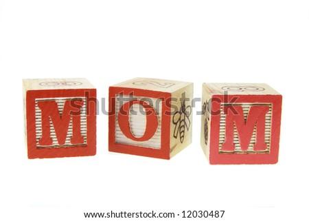 Mom Alphabets on White Background - stock photo