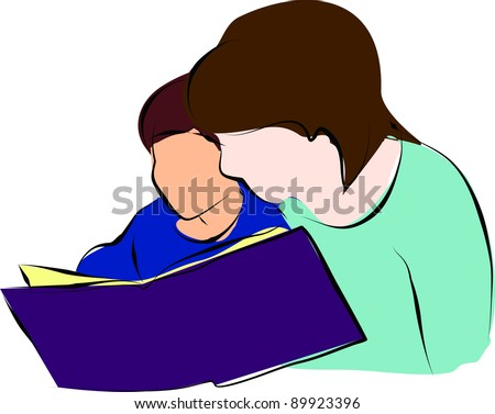 mom and child reading a book - stock photo