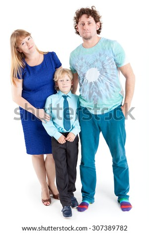 Mom and Dad with son schooler looking at camera, isolated on white background - stock photo