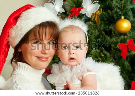 Mom and daughter celebrate Christmas