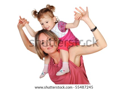 Mom and her young daughter spent time together - stock photo