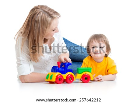 mom and kid boy play block toys isolated