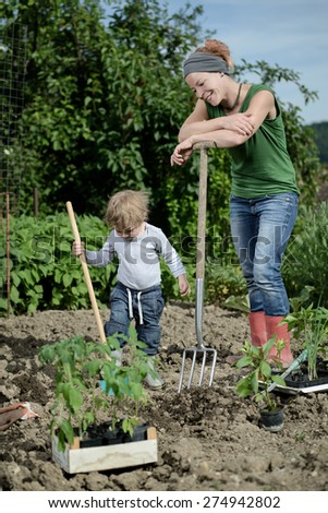 Mom and son planting vegetables in the garden yard - stock photo