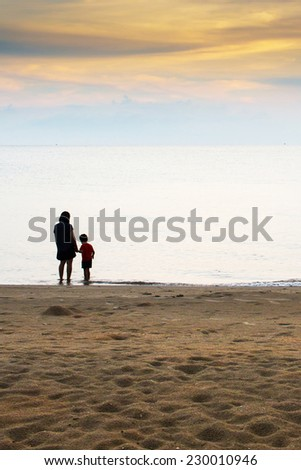 Mom play with little son at beach