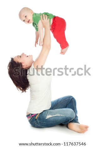 Mom playing with baby, a white background - stock photo