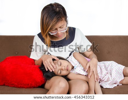 Mom take care child have a fever on white background