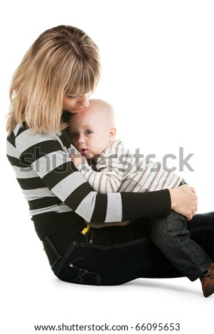 Mom takes care of the child