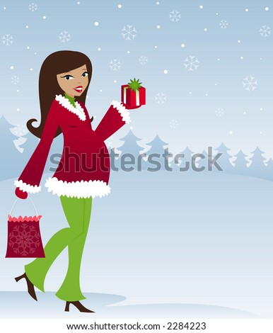 Mom-to-be in winter attire with holiday presents, snow falling in the sky - stock photo