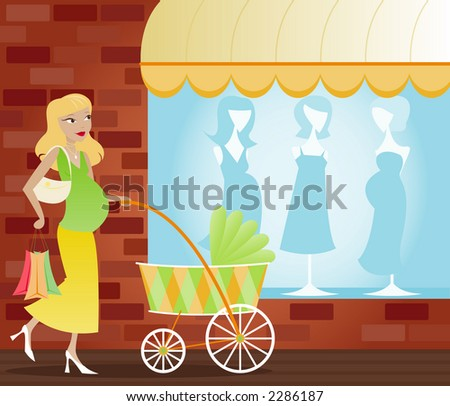 Mom-to-be shopping for baby supplies, pushing a colorful carriage - stock photo