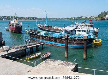 MOMBASA, KENYA-JAN 22: Old port in Mombasa Jan 22, 2013, Kenya. Here are based ships of regional significance. - stock photo
