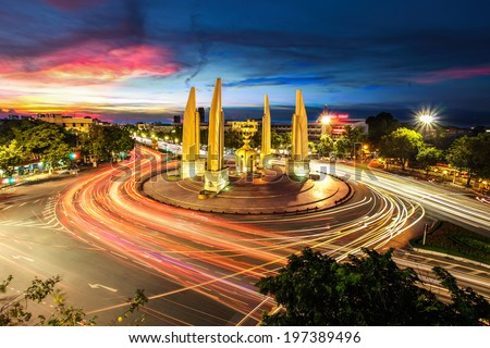 Moment of Democracy monument at Dusk (Bangkok, Thailand) - stock photo