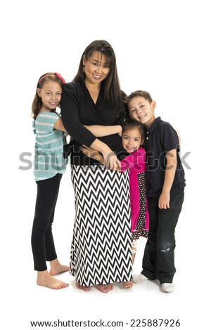 mommy and children / giving each other big hugs / children and mommy - stock photo