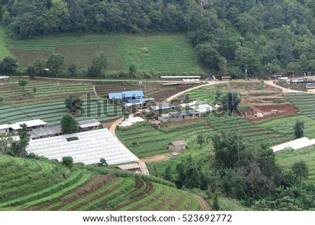 Mon Cham mountain landscape, village, farmland, forest in Chiang Mai, Thailand