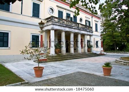 Mon Repo palace in Corfu island, Greece - stock photo