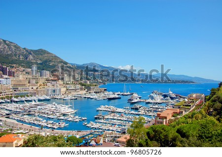 Monaco bay view with wonderful yachts and boats - stock photo