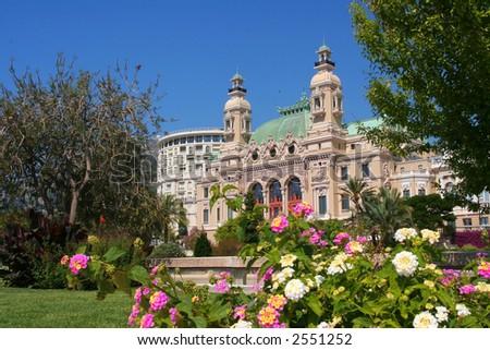 Monaco Casino and it's gardens - stock photo