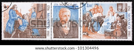 MONACO - CIRCA 1981: A set of three stamps printed by MONACO shows portrait of Wolfgang Amadeus Mozart and Mozart's family, circa 1981. - stock photo