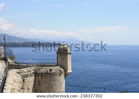 Monaco coast, Tower on the waterfront of the Prince's Palace, Cote d'Azur - stock photo