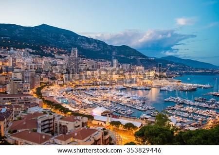 Monaco evening cityscape - stock photo