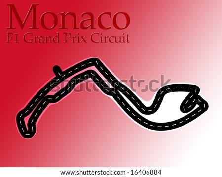 Monaco F1 Formula 1 Racing Circuit Map - stock photo