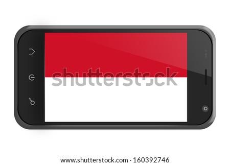 Monaco flag on smartphone screen isolated on white - stock photo