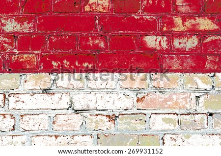 Monaco flag painted on old brick wall texture background - stock photo