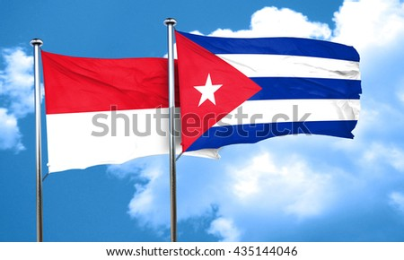 monaco flag with cuba flag, 3D rendering