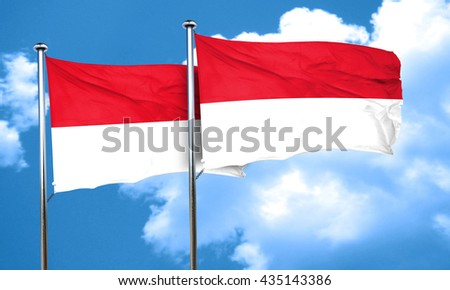 monaco flag with Indonesia flag, 3D rendering