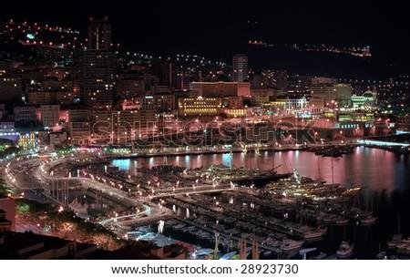 Monaco harbor in night lights - stock photo