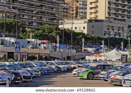 MONACO - JANUARY 21:  Last day of the famous rally of monte carlo, some  cars parked in port hercule,  on January 21, 2011 in Monaco, France