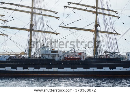 Monaco, Monaco Ville, Monte-Carlo, 2015.09.04: Four-masted barque ship, the Russian training ship is in the port of Hercules in Monaco, in the program of the Year of Russia in Monaco, sunny day