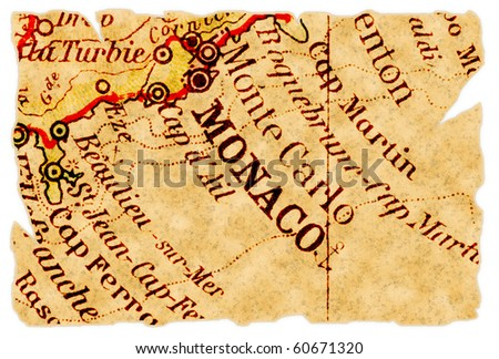 Monaco on an old torn map from 1949, isolated. Part of the old map series. - stock photo