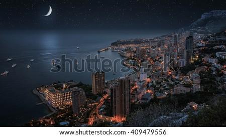 Monaco under the moonllght - stock photo