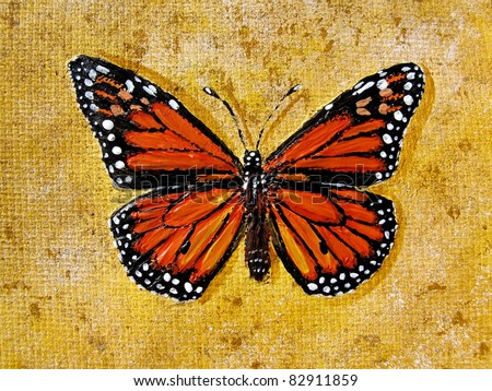 monarch butterfly, acrylic on canvas - stock photo