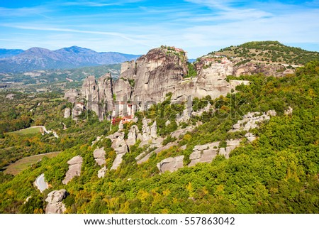 Monasteries at the Meteora. Meteora is one of the largest built complexes of Eastern Orthodox monasteries in Greece.