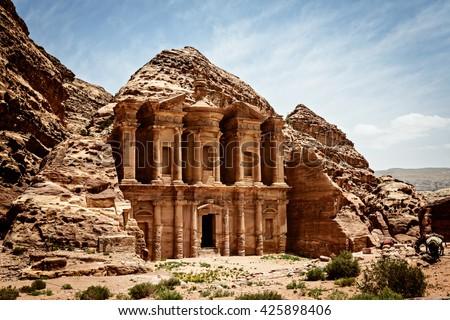Monastery Ad-Deir, ancient Nabataean city Petra, Jordan. - stock photo