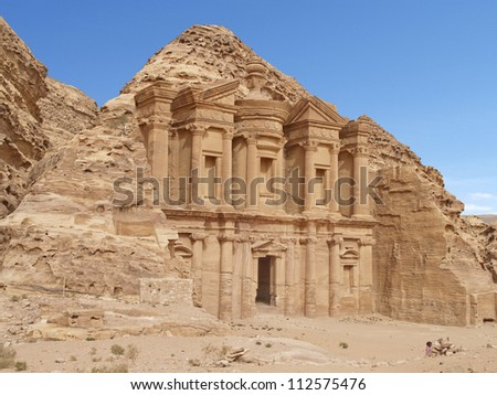 Monastery (Al Deir) of Petra, an Unesco World Heritage Site, one of the wonders of the world, Jordan - stock photo