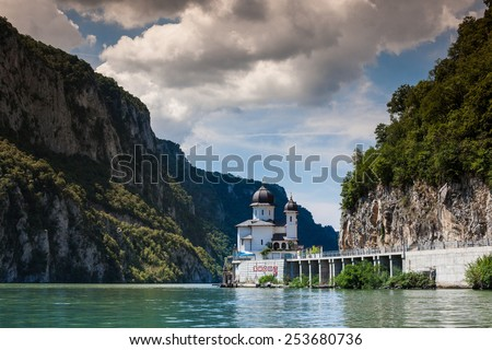 Monastery at the Iron gates national park, Serbia, Romania - stock photo