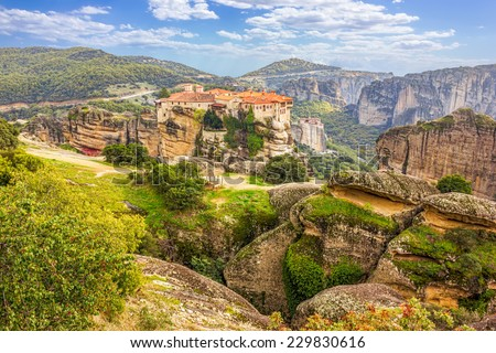 Monastery from Meteora-Greece, beautiful landscape with tall rocks with buildings on them - stock photo